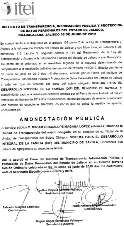Segunda Amonestacion PUblica para Miriam Guadalupe Magaña Lopez