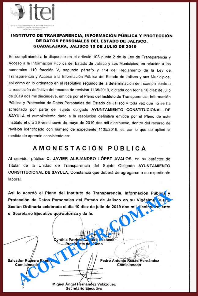 Copia de la Amonestacion Publica para Alejandro Lopez Avalos de el 10 de Julio 2019 por ocultar informacion financiera