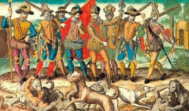 Los españoles genocidas reian cuando los perros se comian vivos a nuestros antepasados caidos