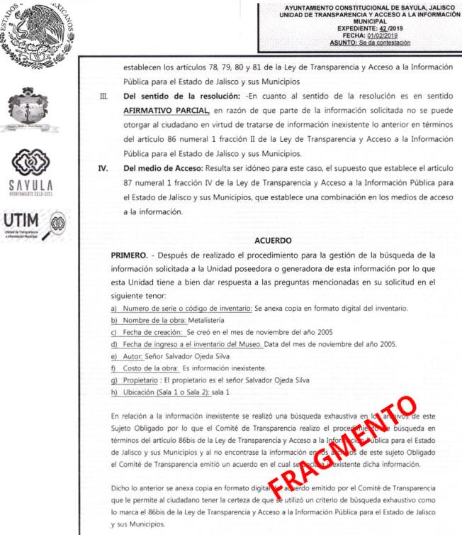 Copia de el documento con informacion al desfalco de Jose Ojeda en Sayula, Jalisco