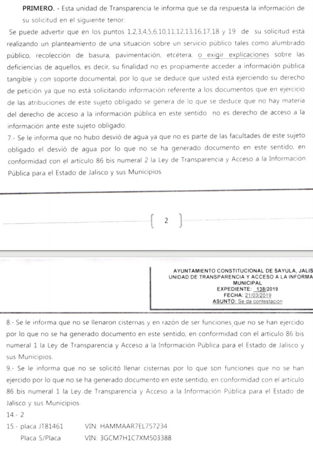 Respuesta de el Titular de Protección Civil Marcos Betancourt Evangelista quien aprobó por ordenes del regidor Martín Fajardo el tomar la única pipa de agua de bomberos con la que cuenta la ciudad para llenar las cisternas de la mansión de el regidor Fajardo.
