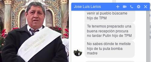 Amenazas de muerte por parte de Jose Luis Larios, Mayordomo de el Templo de Guadalupe en Sayula, Jalisco