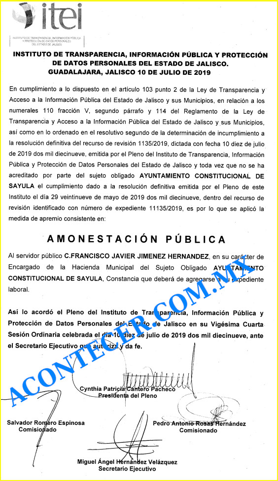 La amonestacion pubica de Francisco Javier Jimenez Hernandez