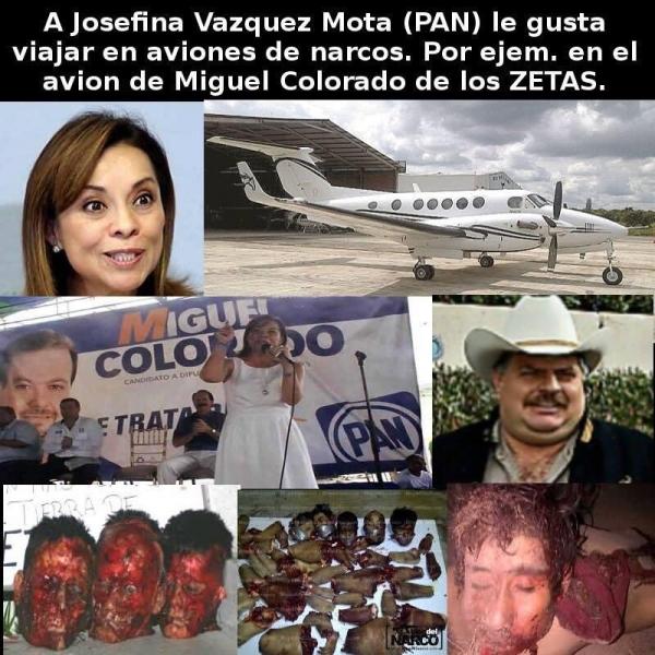 La panista Vazquez Mota con los aviones de miembros de los Zetas