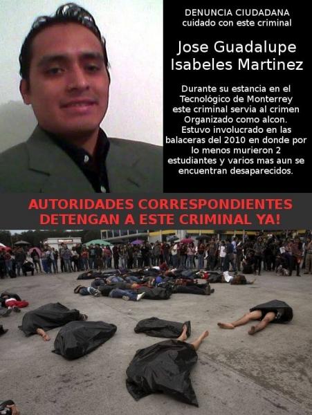 Jose Guadalupe Isabeles Martinez, uno de los alcones del narco culpables de la muerte de estudiantes