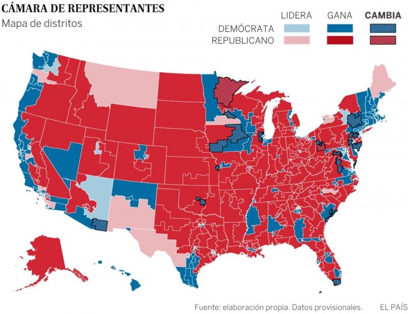 Camara de representantes, mapa de distritos