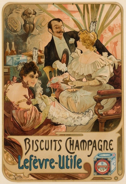 Alphonse Mucha  BISCUITS CHAMPAGNE LÈFEVRE-UTILE, 1896  Christopher-Clark Fine Art