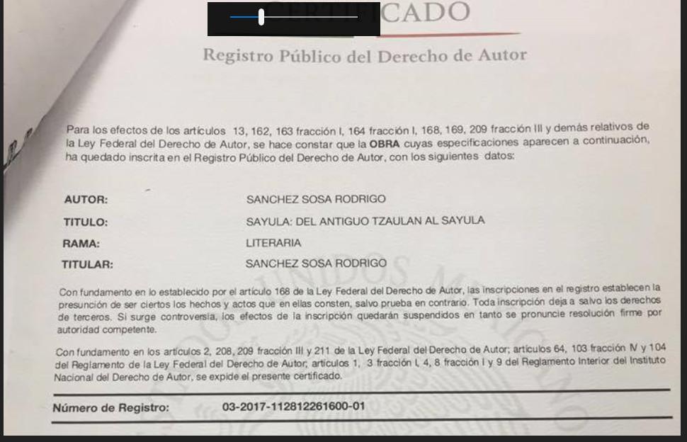 Copia del registro de la obra (que robo el panadero Rodrigo Sánchez Sosa) ante el Instituto Nacional del Derecho de Autor.
