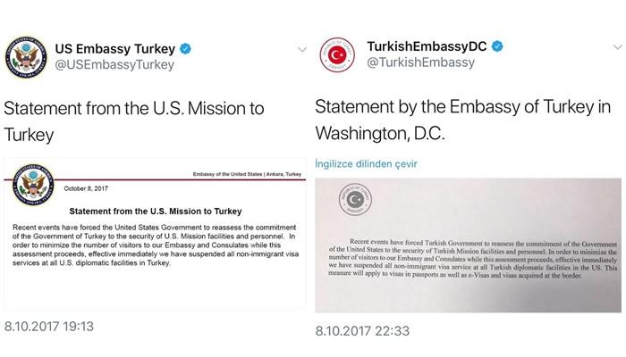 Mensajes entre Turquia y EEUU al romper relaciones y suspender visas mutuamente