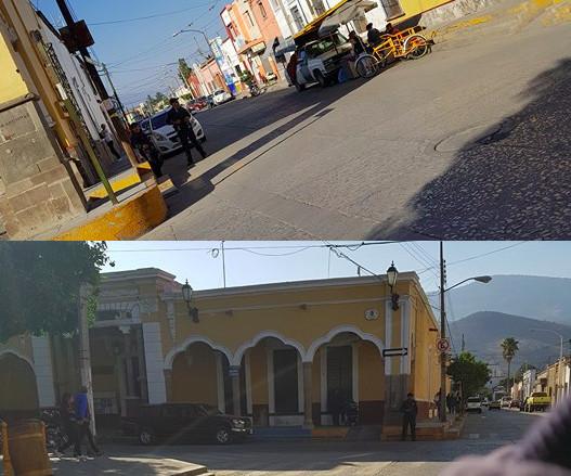 Policias vigilando la zona del Tianguis del centro Sayula, Jalisco