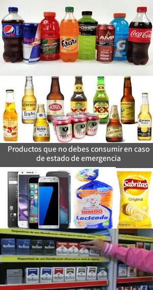Productos que no debes consumir en caso de un estado de emergencia