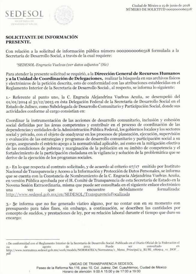 Respuesta de la SEDESOL que desmiente a Engracia Vuelvas p.1