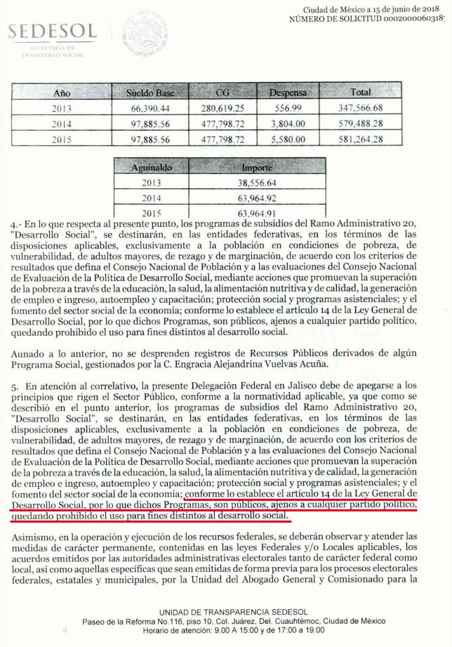 Respuesta de la SEDESOL que desmiente a Engracia Vuelvas p.2