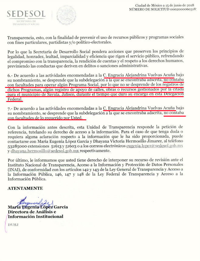 Respuesta de la SEDESOL que desmiente a Engracia Vuelvas p.3