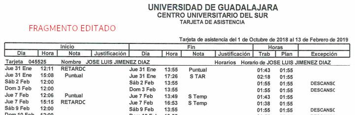 Fragmento de la vitacora de asistencia de José Luis Jiménez Díaz en el CuSur