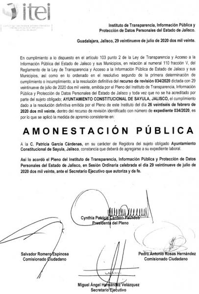 Amonestacion Publica para Patricia Garcia Cardenas, regidora de Sayula (PRD/MC) por ocultar informacion sobre la demolicion del Jardin de Niños Celso Vizcaino de Sayla