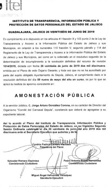 La amonestacion publica de Arturo Gonzalez