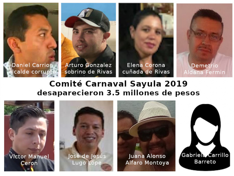 Miembros del comite carnaval Sayula 2019 que desfalcaron al municipio con 3.5 millones de pesos
