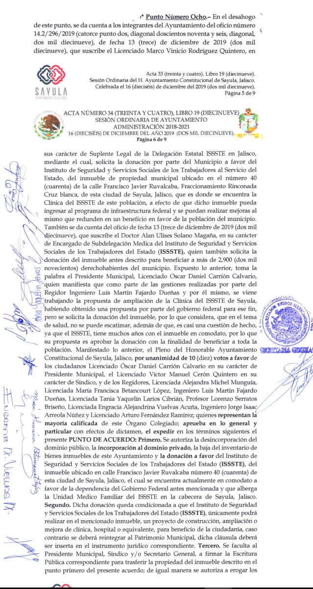 Fragmento del Acta de Cabildo No 36 del 16 de diciembre 2019.Parte 2 de 3