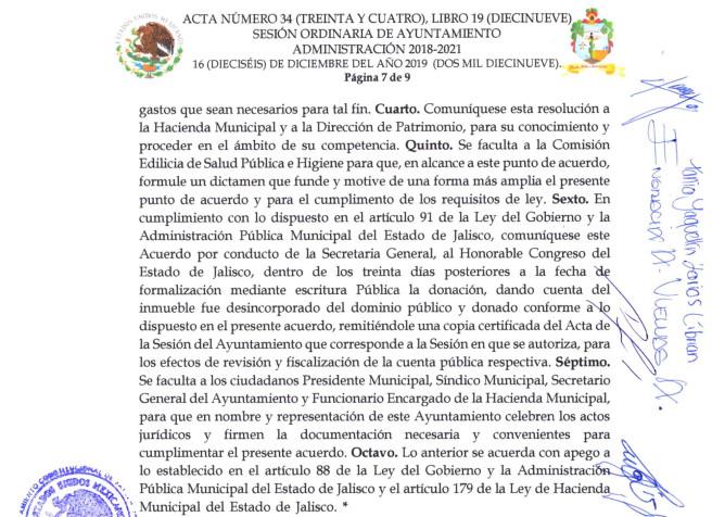 Fragmento del Acta de Cabildo No 36 del 16 de diciembre 2019.Parte 3 de 3